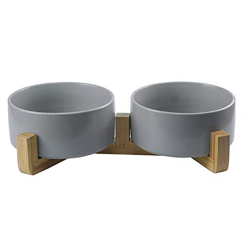 HCHLQLZ Grau Keramik Hundenapf Futternapf Fressnapf Napf für Hund Katzen mit Massivholz Ständer(2 Stück)