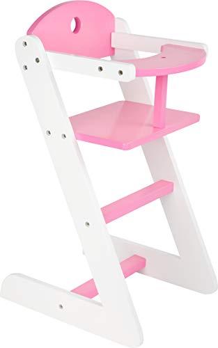 Small Foot 10743 Puppenhochstuhl Mädchentraum aus Holz, in realistischem Design, Puppenzubehör für Kinder ab 3 Jahren Spielzeug, ca. 30 x 25 x 50 cm, Sitzhöhe 34 cm