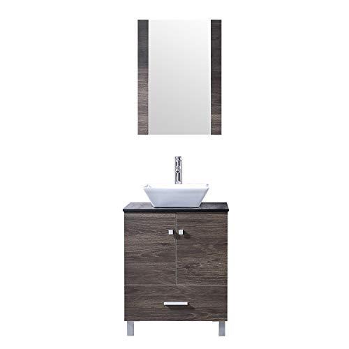 """BATHJOY 24"""" Bathroom PLY Wood Vanity Cabinet Top Ceramic Vessel Sink Faucet -"""