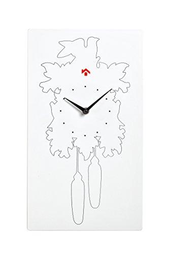 TRABO Coucou Horloge Murale, 33 x 60 cm, ABS, Blanc, 30 x 33 x 60 cm
