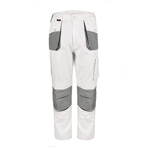 TMG® Comfort Herren Arbeitshose, Lange Cargo Bundhose mit Kniepolstertaschen Weiß 52