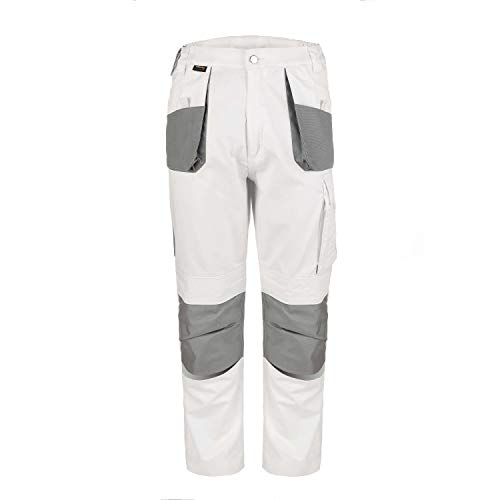 TMG Comfort Work Pants Men White | Construction Pants with Knee Pockets 28/31