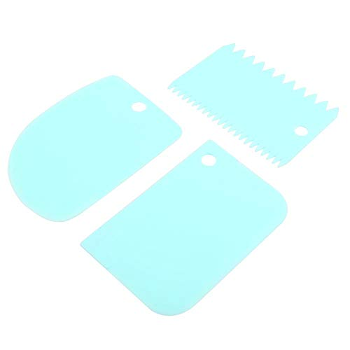 Mehlschaber Backwerkzeuge 3-teiliges Set Creme Küchenhelfer Lebensmittelqualität PP Material Langlebig Genug MEHRWEG VERPACKUNG(Blau)