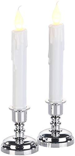 Britesta Kerzenhalter: 2er-Set LED-Stabkerzen mit silbernem Kerzenständer, flackernde Flamme (Kerzenleuchter)