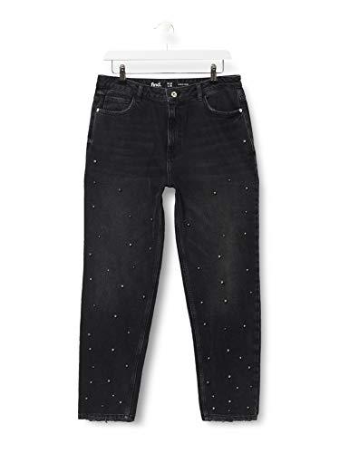 Amazon-Marke: find. Damen Verkürzte Jeans mit Perlen, Schwarz (Dark Grey), 31W / 32L, Label: 31W / 32L