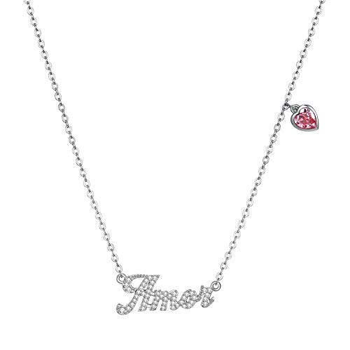Chandler English Letter Amor Pendant Necklace for Women Girls 925 Sterling Silver Anniversary Valentine's Day