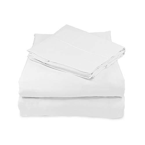 Whisper Organics, 100% Organic Cotton Sheet Set - 500 TC Bed Sheets Set (Bed Sheet + Flat Sheet + 2 Pillowcases) - Hypoallergenic Extra Deep Sheets Set - GOTS Certified (White, Queen)