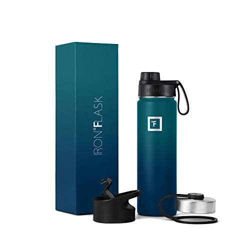 IRON °FLASK Sports Water Bottle - 22 Oz, 3 Lids (Spout Lid), Vacuum Insulated Stainless Steel, Modern Double Walled, Simple Thermo Mug, Hydro Metal Canteen