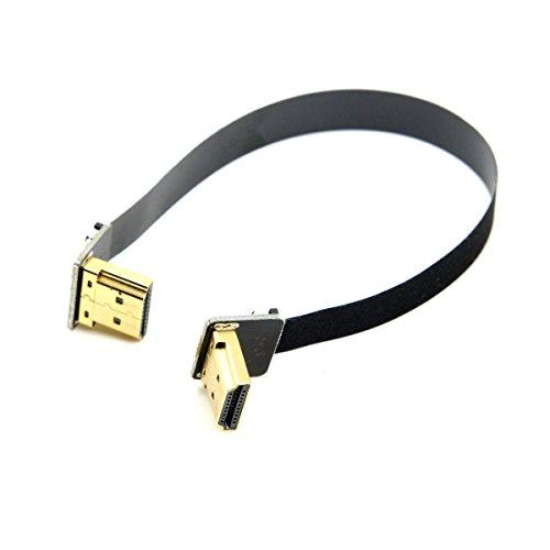 Flaches Kabel mit angewinkeltem HDMI-Stecker, CY, FPV, Dual, 90Grad angewinkelt, HDMI Typ-A Stecker