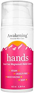 AWAKENING Hands - Magnesium-Rich Hydrating Hand Therapy Hand Cream - Hand Lotion With Myrrh Extract and Concentrated Dead Sea Minerals for Dry Hands - 100ml/3.38oz Airless Pump Magnesium Cream