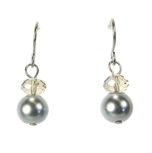 behave Elegantes pendientes de perlas con piedra de cristal, pendientes con piedra facetada
