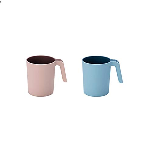 Desayuno taza de leche taza de gran capacidad de material PP con mango Cepillo de dientes taza Porcelana Tazas para café té Tazas de boca hogar 2 PCS Oficina horizontal hogar