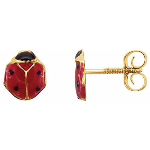 Pendientes de oro amarillo pulido de 14 quilates con esmalte rojo juvenil para mujer