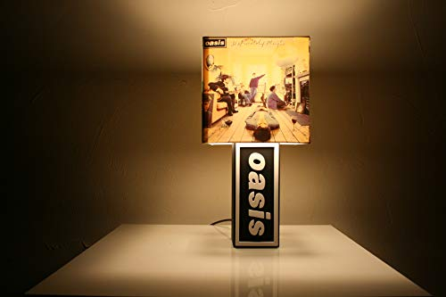 Handmade Oasis Lamp + Album Cover Shade - Definitely Maybe, What's the Story? (Morning Glory), Be Here Now, The Masterplan by The Record's Ticking