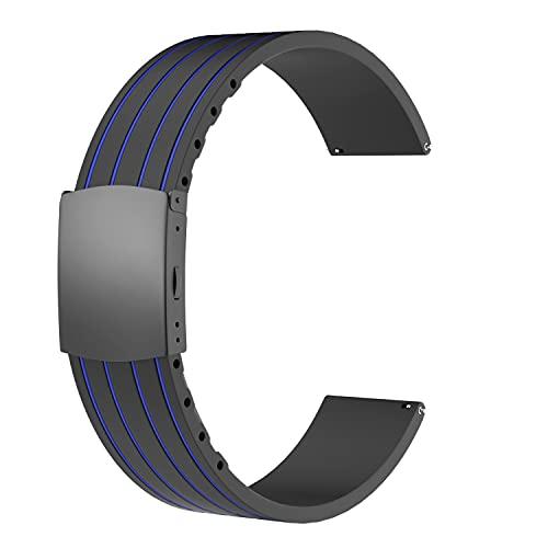 SOUWILA Unisex Kautschuk Armband mit Edelstahl Silber Faltschließe 22mm Blau Schwarz