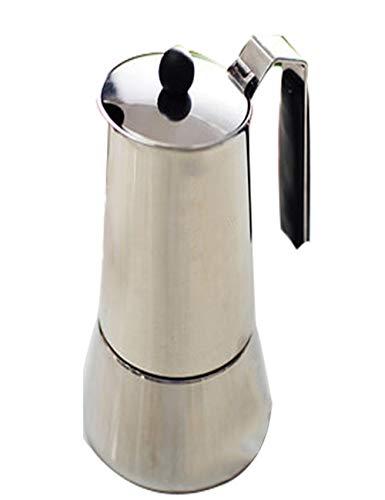 Cafetera de acero inoxidable estilo europeo con filtro y válvula de seguridad para lavar a mano, 3 tazas, uso doméstico, color plateado