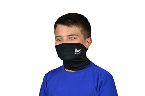 MISSION Cooling Youth Neck Gaiter 6+ Ways to Wear, Face Mask, UPF 50, Cools When Wet- Black