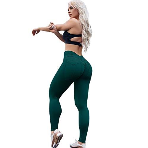WOZOW Damen Leggings Gamaschen Solid Basic Sweathose Back Pocket Dünn Skinny Trousers Casual Fitness Lang Long Jogginghose Workout Sport Hose Stoffhose (XL,Grün)