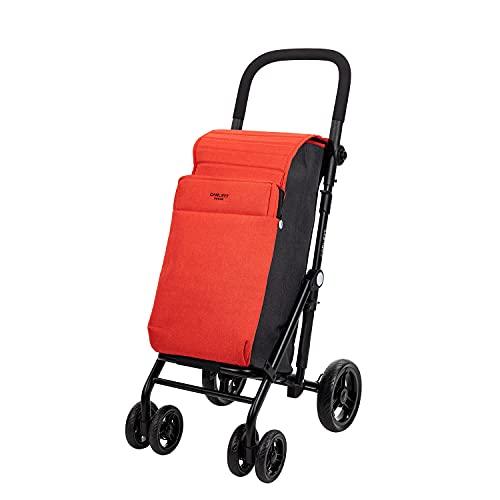 CARLETT | Einkaufstrolley mit 4 Rädern | Lett430 URBAN Duo | Zusammenklappbarer Einkaufswagen mit großer Tasche, 25kg, 36L Einkaufstasche, 7,5L Thermotasche und Rückfach | Cherry Rot