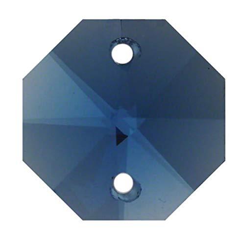 35x Regenbogenkristall Octagon 14mm 2 Loch Saphier ~ Blau K9 ~ Feng Shui Kronleuchter Lüster Kandelaber