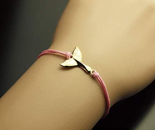 Armreifen Wal Flosse Fisch Wasser Meer Meerjungfrau Armband rosa golden Juvelato