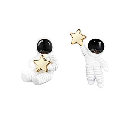QIAN0813 Creative Cartoon Astronaut Stud Earrings for Women Asymmetric Spaceman Star Earing Hypoallergenic Jewelry (Stud)