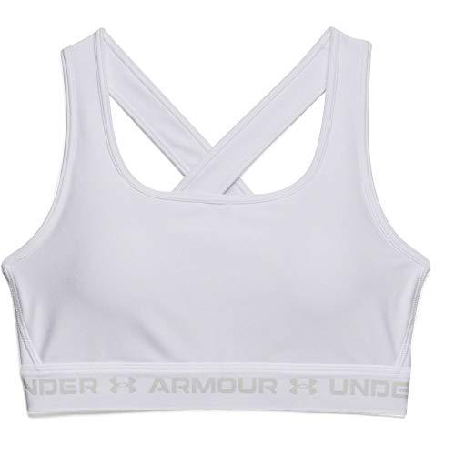 Under Armour Women's Crossback Mid Bra , White (100)/Halo Gray , Medium