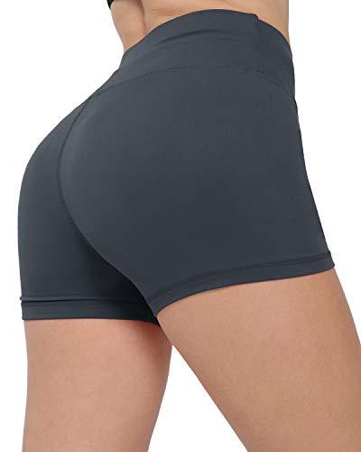 CHRLEISURE Workout Booty Spandex Shorts for Women, High Waist Soft Yoga Bike Shorts 3F Gray XL