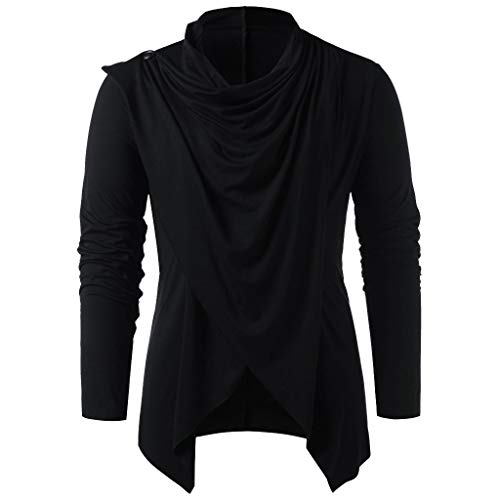 WOCACHI Tops for Mens, Men Spring Winter Vintage Solid Button Long Sleeve O Neck Tops Blouses T Shirt 2020 Spring Deals Holidays Vacation Summer July 4th Black