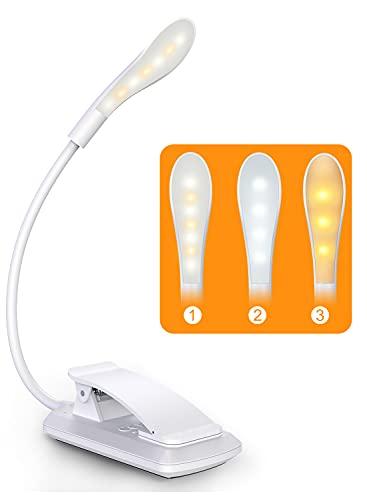 Cocoda Luz Lectura, Lampara Lectura de 360° Flexible con 3 Modos, 7 LED Lampara Pinza Brillo Ajustable con USB Recargable, Sensor Táctil, Luz Nocturna para Leer Libros en la Cama, Kindle