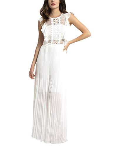 APART Elegantes Damen Kleid, Abendkleid, Maxikleid, plissiert, mit Netz-Oberteil und eingearbeitetem Bandeau, Creme, 34