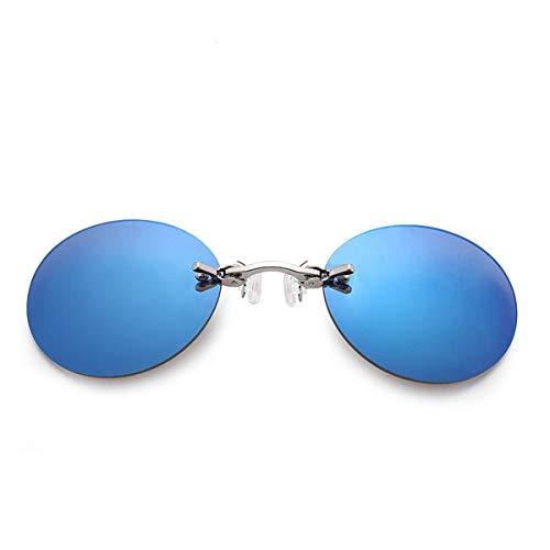 Occhiali da sole sportivi, occhiali da sole vintage, Fashion Clip On Nose Sunglasses Men Vintage Mini Round Sun Glasses Hacker Empire Matrix Morpheus Rimless Sunglasses UV400 Blue