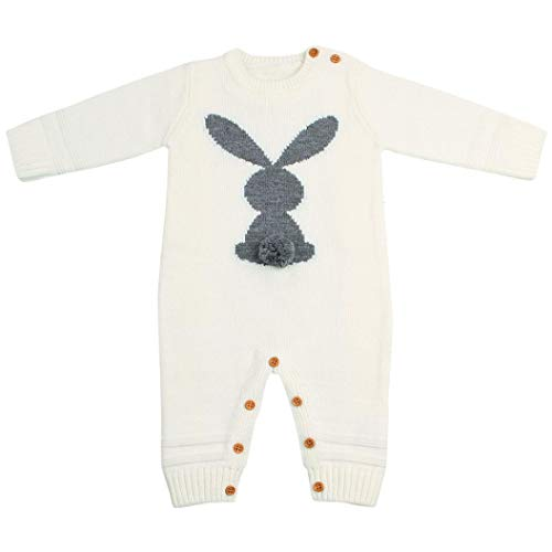 uBabamama Infant Baby Boy Girl Long Sleeve Rabbit Printed Weave Romper Knitted Jumpsuit for 0 24 Months Beige18 24M