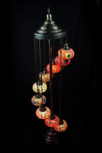 Lámpara de pie, diseño oriental, lámpara turca, 9 esferas, color naranja