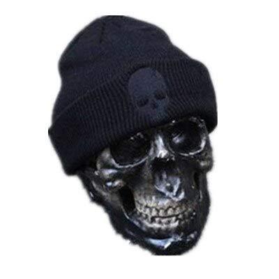 Guangzhouf Bonnet d'hiver unisexe en acrylique tricoté style crâne crâne et bonnets pour femme et homme 3 couleurs chaudes noir