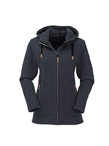 Maul Damen Wilde Kaiserin lg.Strickfleeceja+Ka Polar-Strickfleece Lange Jacke Mit Kapuze, schwarz, 42