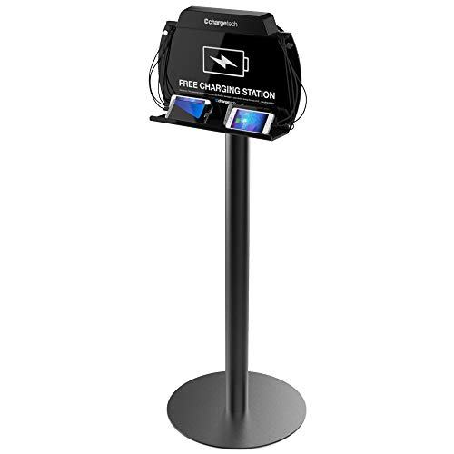 ChargeTech Tower Floor Stand Cell Phone Charging Station Dock Hub | High Speed Cables for All Devices | Fully Customizable Cables & Background Art | Model: S9