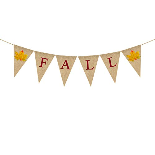 Jute Burlap Fall Banner Happy Thanksgiving Day Harvest Garland Bunting Fireplace Mantel Decoration