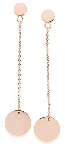 Happiness Boutique Damas Pendientes de Círculo Largos en Oro Rosa | Pendientes de Círculo con Diseño de Cadena y Disco