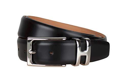 Handmacher Leder-Gürtel für Herren in Hochglanz schwarz, Kalbsleder, Länge 115 cm