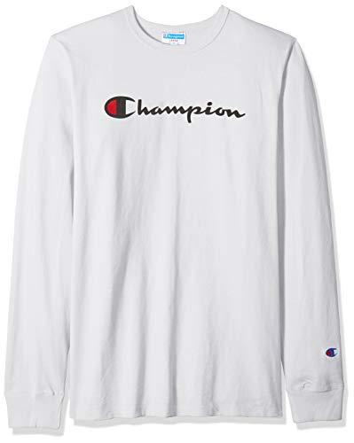 Champion Life Herren Heritage Long Sleeve Tee T-Shirt, Weiß/Tinte Grafik/Script, X-Groß