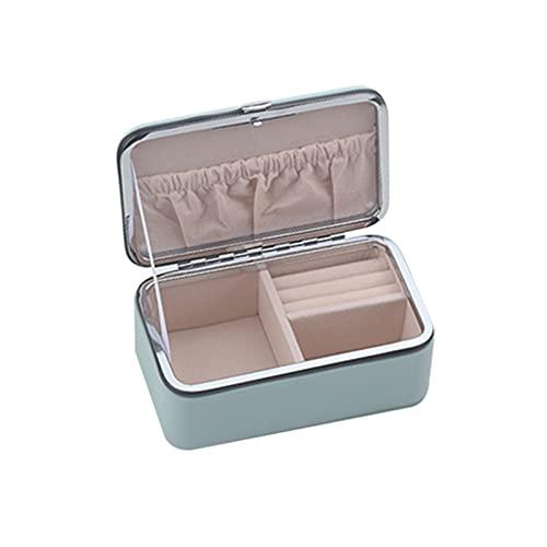 JTKJ Caja de almacenamiento para joyas, la pequeña y práctica caja de almacenamiento es adecuada para viajar y llevar para guardar pendientes y pendientes y otras joyas, color azul
