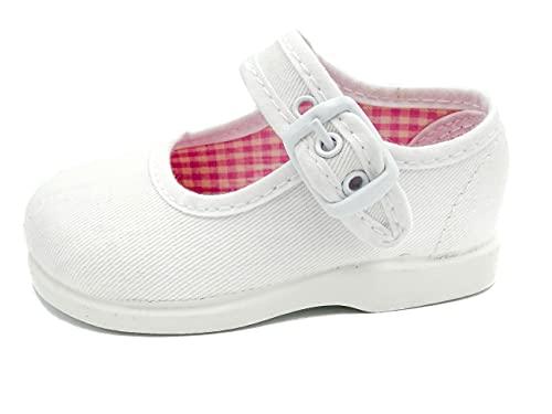 ANDREA RUIZ - Mercedita Clasica de Tela con la Suela de Goma Bebé niña Talla: 22 Color: Blanco