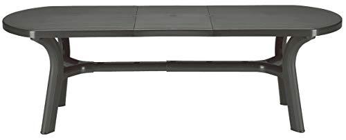 Grand Soleil, Boheme Greenpol, tavolo ovale con prolunga in polimeri riciclati, dimensioni 230x 90x 30cm, colore grigio antracite