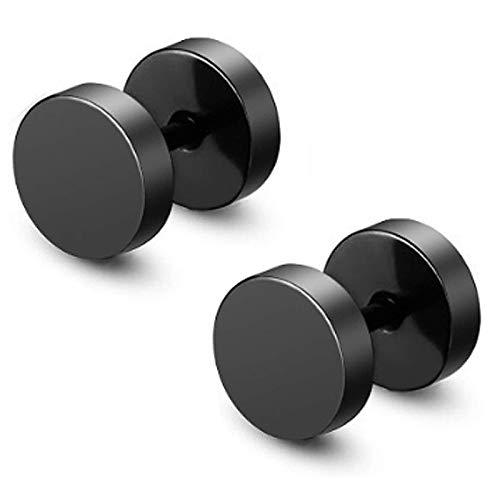 2 pendientes perforantes negros para dar la ilusión de expansores. Pendientes de acero inoxidable pulido para hombres o (-)