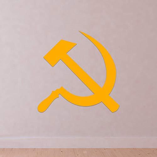 shiyueNB Martillo y Hoz Símbolo Vinilo Tatuajes de Pared Rusia Unión Soviética Comunismo Decoración para el hogar Accesorios para Sala de Estar