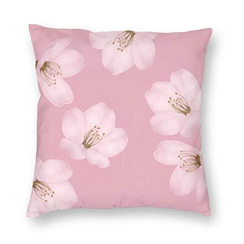 Harla Watercolor Mauve Cherry Blossom Sakura Velvet Soft Decorative Square Throw Pillow Case Cushion Cover Pillowcase for Livingroom Sofa Bedroom with Invisible Zipper 20x20 Inches