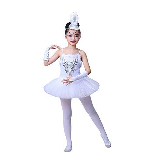 YOUYE Professionelle White Swan Lake Ballettröckchen Kostüm Mädchen Kinder Ballerina Kleid Kinder Ballett Kleid Dancewear Tanzkleid Für Mädchen,150cm
