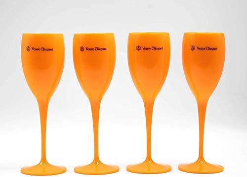 Veuve Clicquot - Copa de champán (acrílico, 4 unidades), color naranja