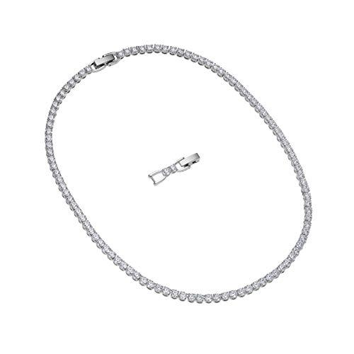 Swarovski Women's Tennis Deluxe Necklace, Brilliant White Crystal Stones with Elegant Rhodium Plated Metal, from Swarovski Tennis Deluxe Collection